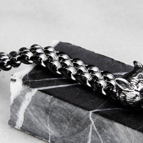 Браслет из стали и кожи с головами волков SB8250