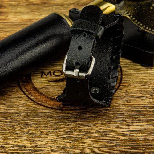 Валькнут браслет широкий из кожи QB236