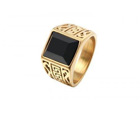Перстень с агатом золотистый R284