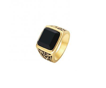Перстень с агатом золотистый R285