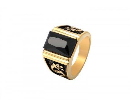 Перстень с агатом золотистый R286