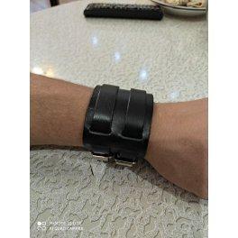 Браслет широкий кожаный черный QB630