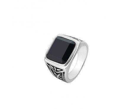 Перстень с агатом серебряный R316