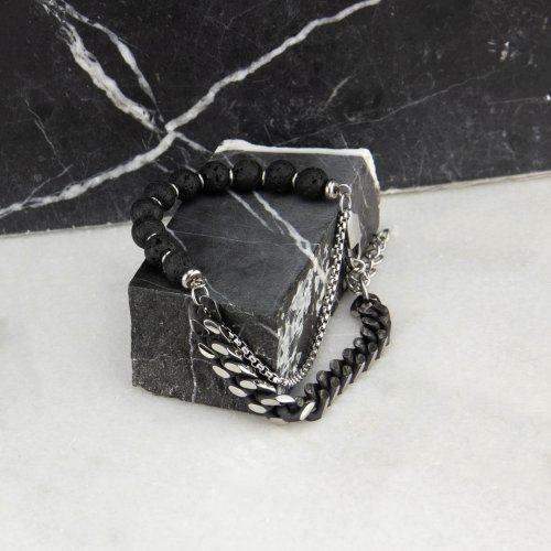 Комбинированный браслет из стали и камней SH8471