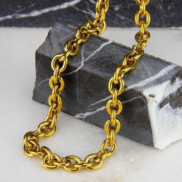 Цепь якорного плетения золотистая C076