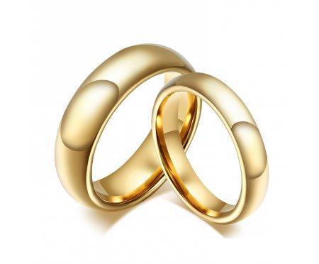 Кольцо из вольфрама обручальное золотистое RW1740