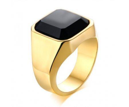 Перстень с агатом золотистый R232