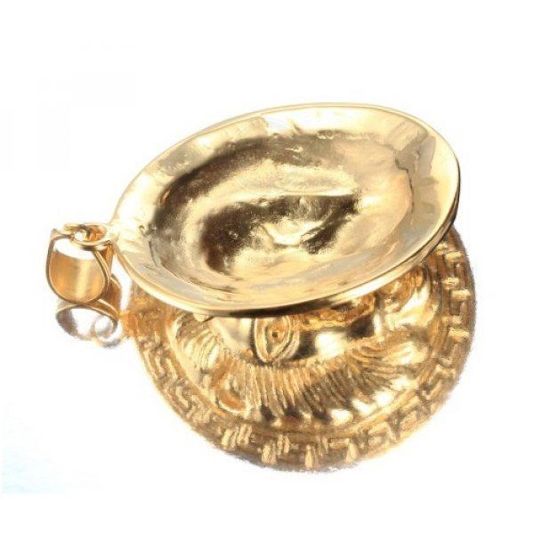 Кулон с головой льва золотистый K398