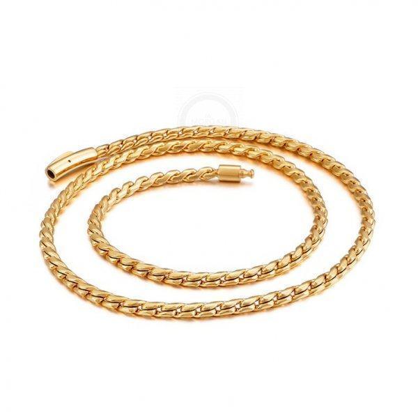 Золотистая цепочка якорного плетения из стали C123
