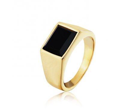 Перстень золотистый с агатом R304