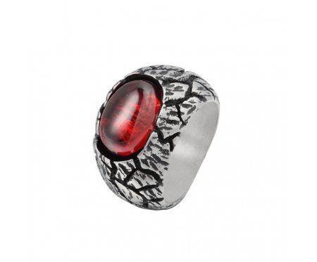 Перстень с красным цирконом R308