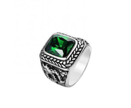 Перстень с зеленым цирконом R309