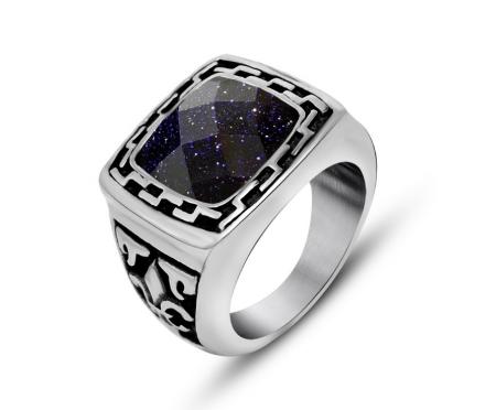 Мужской перстень с авантюрином R4606