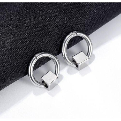 Серьги-кольца из стали с квадратом SE1096