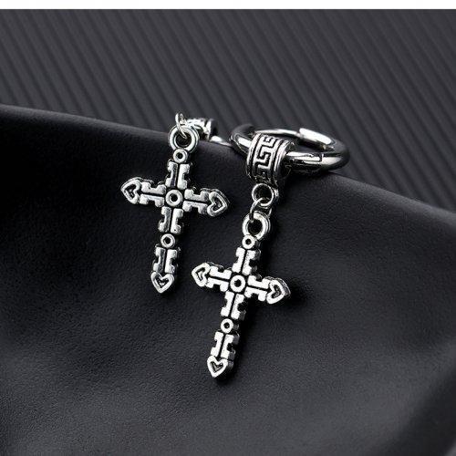 Серьги-кольца из стали с крестами 17 мм SE1099