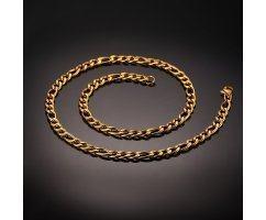 Цепочка из стали плетения фигаро золотистая C046