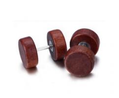 Серьги мужские деревянные из медицинской стали SE1656