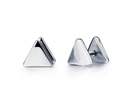 Мужские серьги-треугольники серебристые SE16672