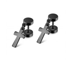 Мужские серьги с крестиком черные SE16712