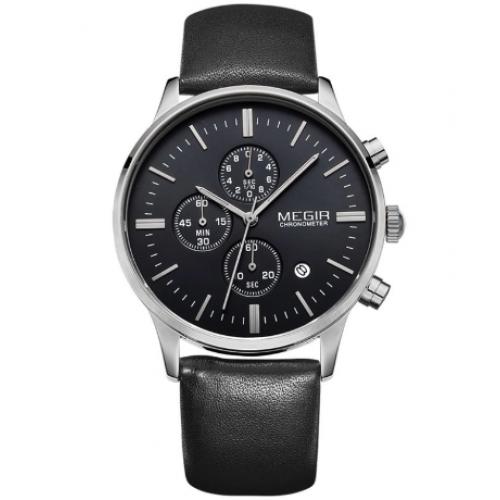 Часы Megir Chrono black с кожаным ремешком