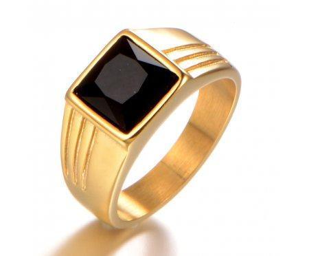 Перстень с черным камнем R195