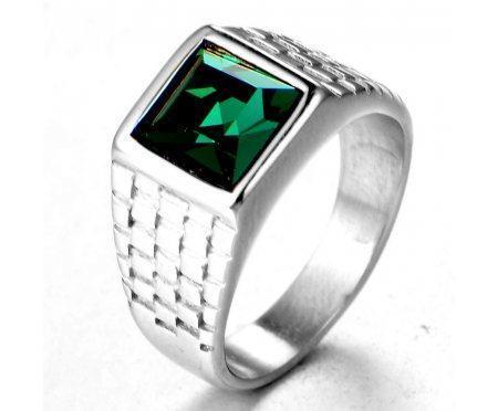Перстень с зеленым цирконом R197