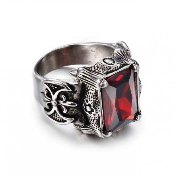 Массивный перстень с красным цирконом R1826