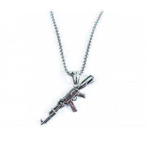 Кулон стальной АК-47 серебристый