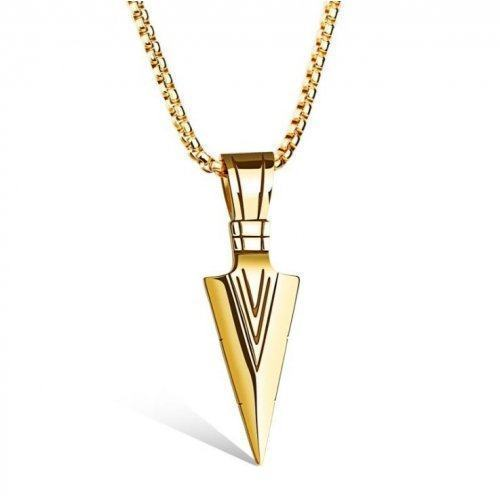 Кулон наконечник стрелы золотистый