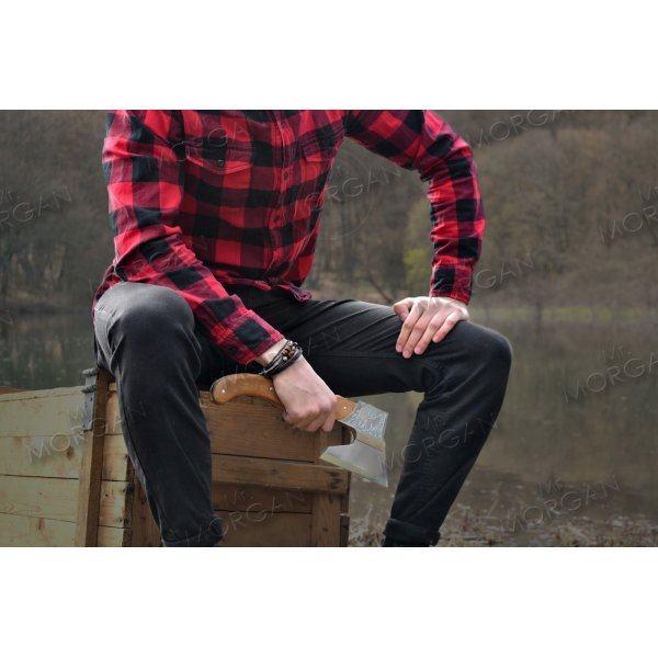 Браслет плетеный с деревянными вставками