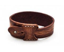 Браслет кожаный широкий светло-коричневый QB627
