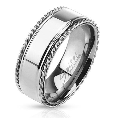 Кольцо серебряное с тросиками SPIKES украшено стальными тросами