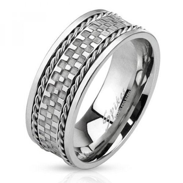 Кольцо стальное с  тросами SPIKES Аккуратное кольцо из ювелирной стали