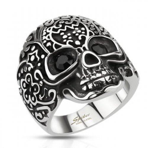 Мужская печатка с черепом SPIKES яркий брутальный дизайн
