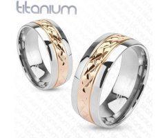 Кольцо из титана бело-золотое SPIKES R3700