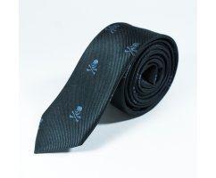 Lecrane галстук черный с черепом NT22