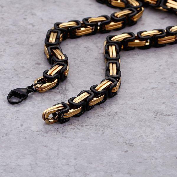 Цепь черно-золотая из стали C306
