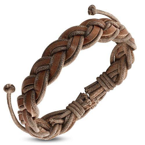 Плетеный браслет из кожи в виде косички