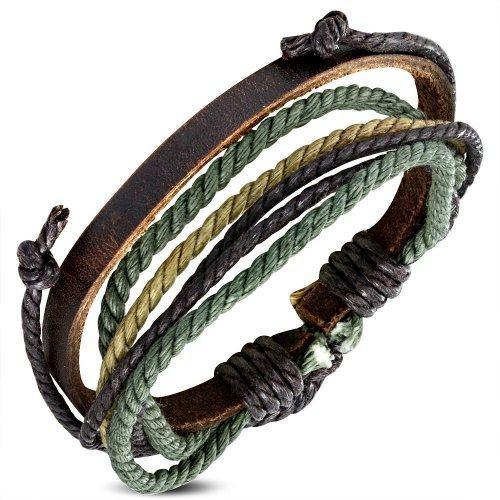 Браслет плетеный с зеленой нитью