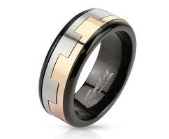 Кольцо вращающееся черно-золотое SPIKES R2815
