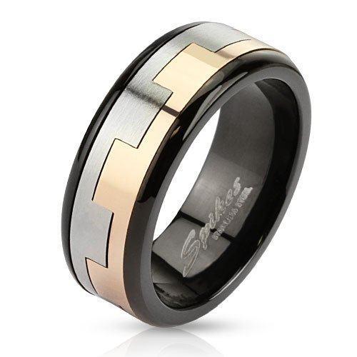 Кольцо вращающееся черно-золотое SPIKES анти стресс