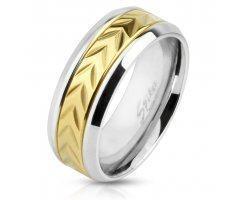 Кольцо стальное золотое SPIKES R3954